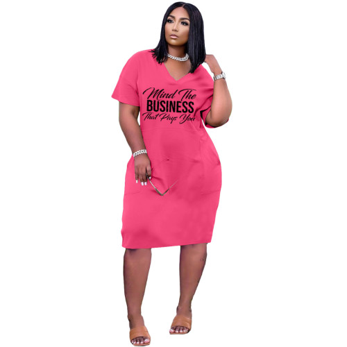 Rose Red Women's fashion sexy loose V-neck letter print casual dress with pockets