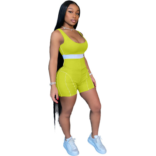Fluorescent green European and American fashion women's clothing personality sexy color matching webbing jumpsuit