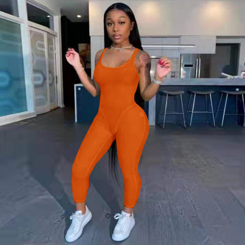 Orange Fashion women's clothing solid color suspenders sexy jumpsuit