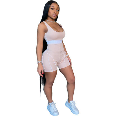 Khaki European and American fashion women's clothing personality sexy color matching webbing jumpsuit