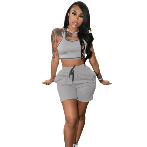 Gray Fashion women's new solid color casual sports suit (with pockets)