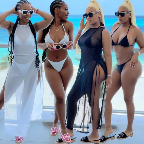 Black Women's mesh see-through sexy two-sided slit sleeveless beach dress 3-piece set