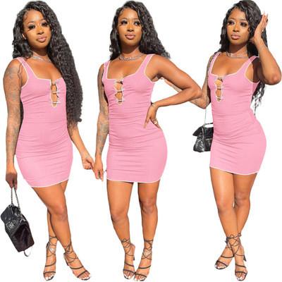 Pink Fashion splicing pit strip slim sports casual dress