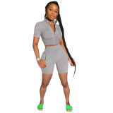 Gray Fashion casual solid color sports short-sleeved shorts suit two-piece suit