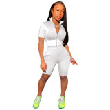 White Fashion casual solid color sports short-sleeved shorts suit two-piece suit