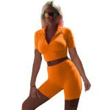 Orange Women's solid color casual slim waistless sports suit two-piece suit