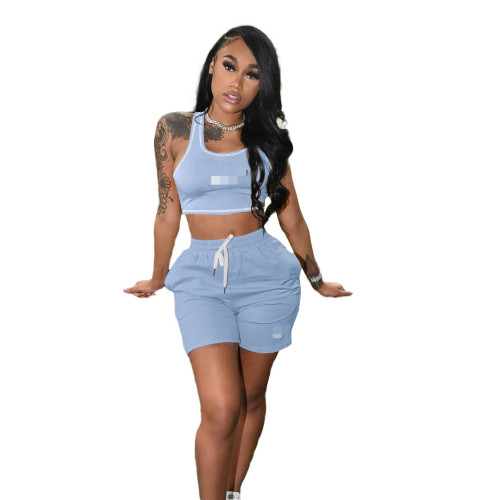 Light blue Women's 2021 new solid color casual embroidery sports suit (with pockets)