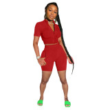 Red Fashion casual solid color sports short-sleeved shorts suit two-piece suit
