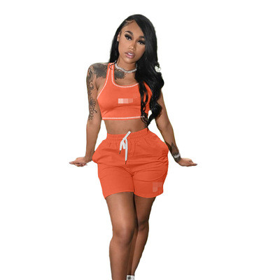 Orange Women's 2021 new solid color casual embroidery sports suit (with pockets)