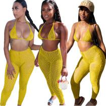 Yellow Casual fashion sexy mesh spring and summer bikini halterneck swimwear 6-color three-piece suit