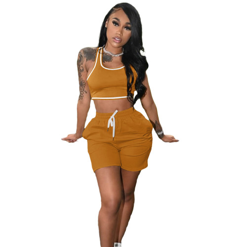Ginger Fashion women's new solid color casual sports suit (with pockets)