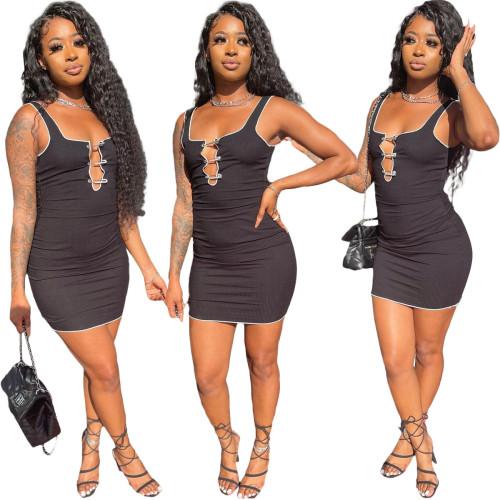Black Fashion splicing pit strip slim sports casual dress