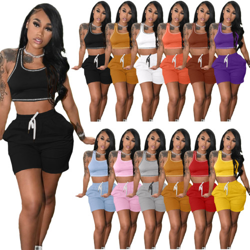 Yellow Fashion women's new solid color casual sports suit (with pockets)