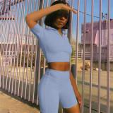 Light blue Women's solid color casual slim waistless sports suit two-piece suit