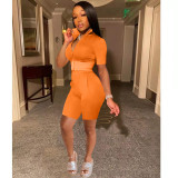 Copy Orange Fashion casual solid color sports short-sleeved shorts suit two-piece suit