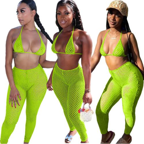 Fluorescent green Casual fashion sexy mesh spring and summer bikini halterneck swimwear 6-color three-piece suit