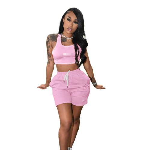 Light pink Women's 2021 new solid color casual embroidery sports suit (with pockets)