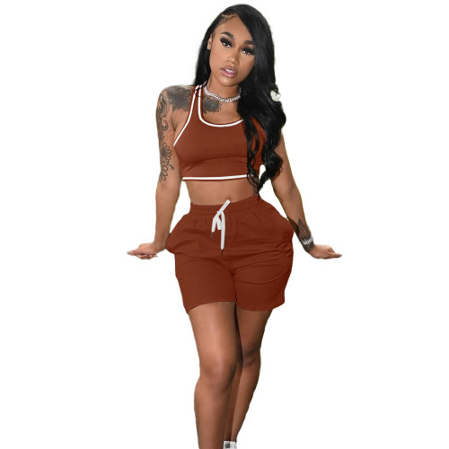 Brown Fashion women's new solid color casual sports suit (with pockets)