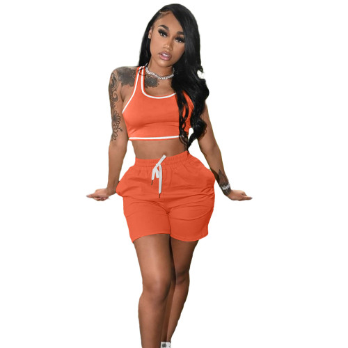 Orange Fashion women's new solid color casual sports suit (with pockets)