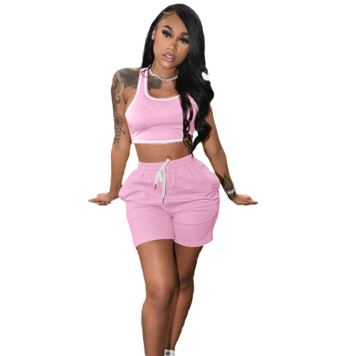 Light pink Fashion women's new solid color casual sports suit (with pockets)