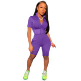 Purple Fashion casual solid color sports short-sleeved shorts suit two-piece suit