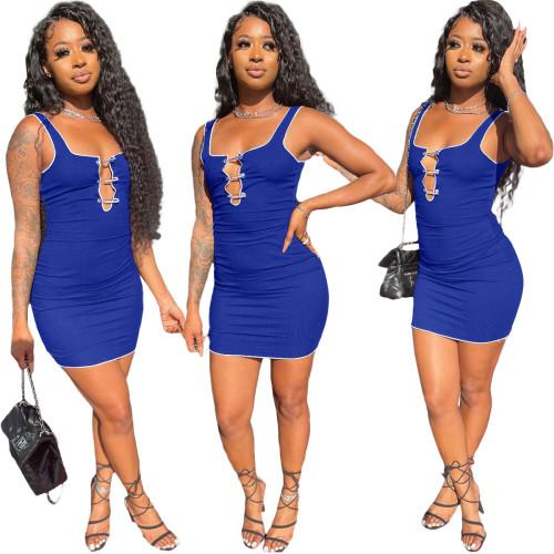 Blue Fashion splicing pit strip slim sports casual dress