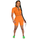 Orange Fashion casual solid color sports short-sleeved shorts suit two-piece suit