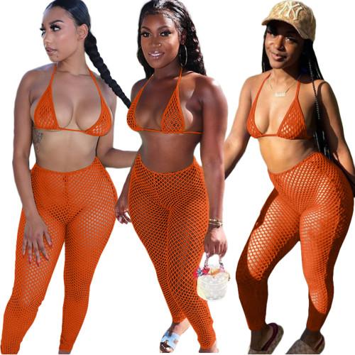 Orange Casual fashion sexy mesh spring and summer bikini halterneck swimwear 6-color three-piece suit