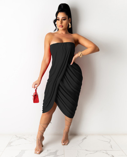 Black Women's spring and summer midi skirt pleated sleeveless dress