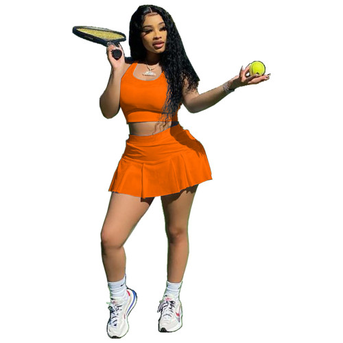 Orange Sexy solid color nightclub style slim-fit sports vest culottes two-piece suit