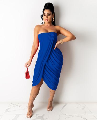 Blue Women's spring and summer midi skirt pleated sleeveless dress