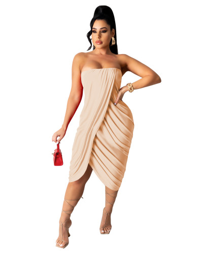 Apricot Women's spring and summer midi skirt pleated sleeveless dress