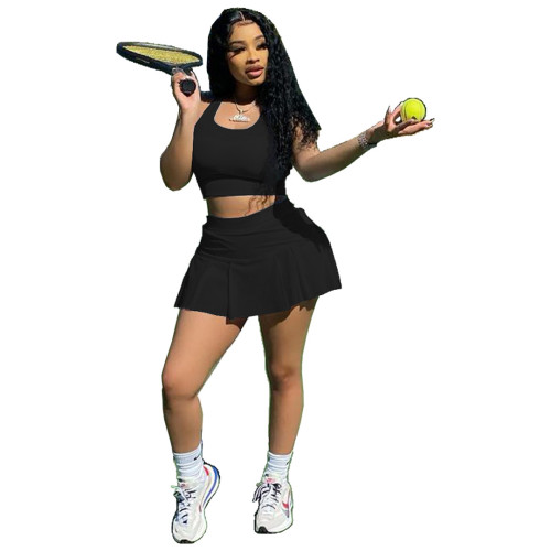 Black Sexy solid color nightclub style slim-fit sports vest culottes two-piece suit