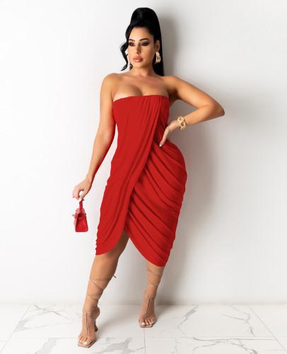 Red Women's spring and summer midi skirt pleated sleeveless dress