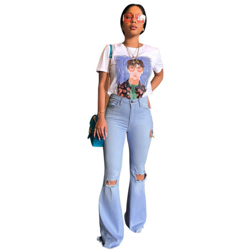 Blue Cotton high stretch fabric ripped jeans