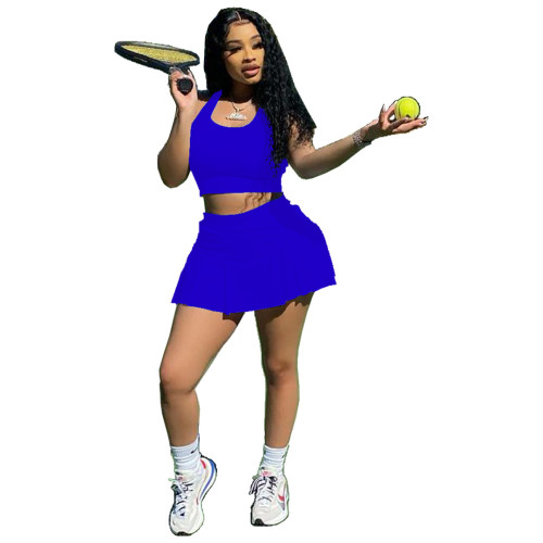 Royal blue Sexy solid color nightclub style slim-fit sports vest culottes two-piece suit