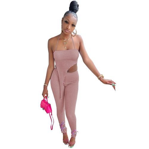 Pink Women's fashion casual sling puff crepe rule two-piece suit