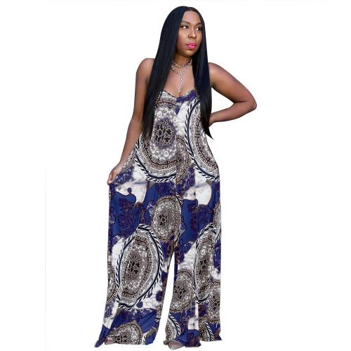 Blue Women's fashion casual loose print summer jumpsuit