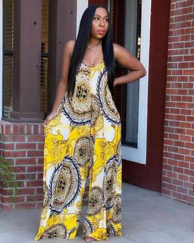Yellow Women's fashion casual loose print summer jumpsuit