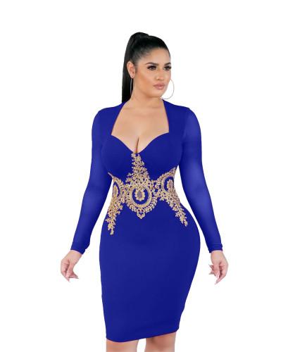Blue Fashion sexy applique mesh dress nightclub skirt