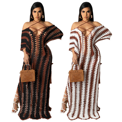 Black Summer beachwear crochet strapless off-shoulder dress