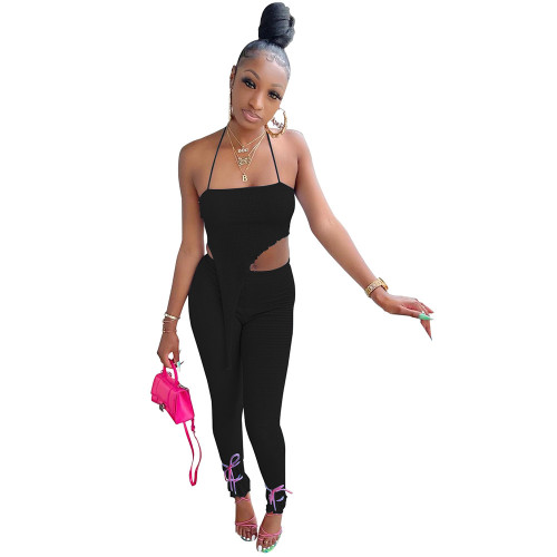 Black Women's fashion casual sling puff crepe rule two-piece suit
