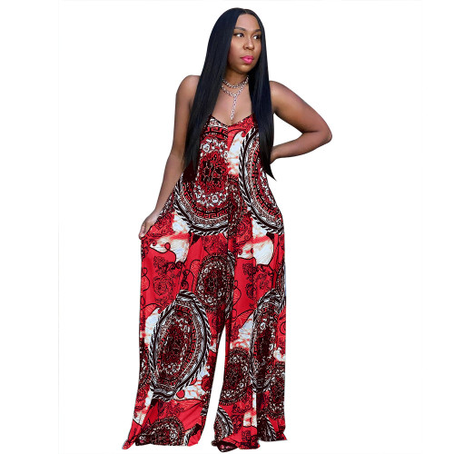 Red Women's fashion casual loose print summer jumpsuit