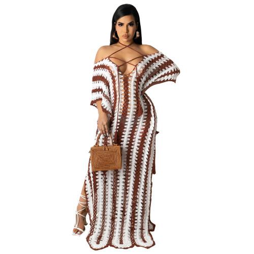 White Summer beachwear crochet strapless off-shoulder dress