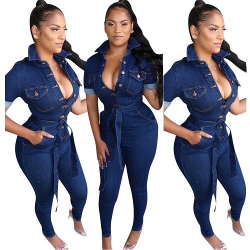 Dark blue Fashion women's casual sexy denim jumpsuit