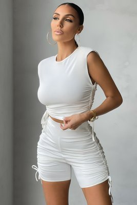 Pure color pleated sports shorts suit casual two-piece suit