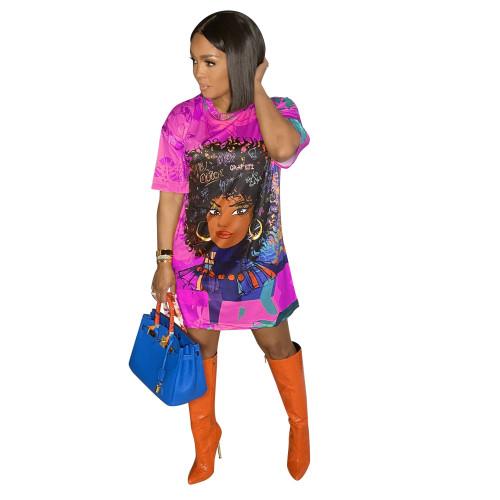 Purple Fashion positioning digital printing loose casual plus size dress printing bag hip skirt
