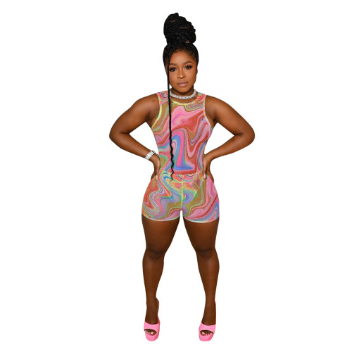 Pink Fashion printed casual slim-fit jumpsuit one-piece