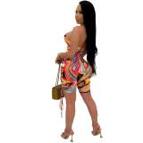 Bule Sexy sling tie-dye cutout digital printing jumpsuit