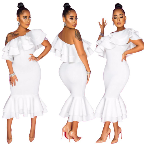 White Fashion casual sexy ruffled solid color dress